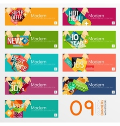 Set of banners with stickers labels and elements vector image