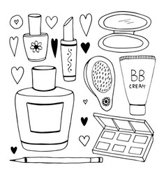 set of cosmetic doodles collection line vector image vector image