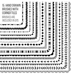 Set of fifteen hand drawn brushes vector
