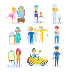 set of occupations in which children represent vector image vector image