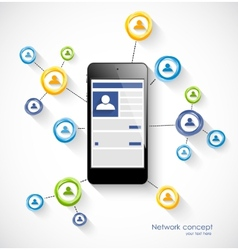 Social network concept with smartphone vector image vector image