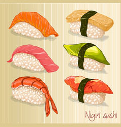 Tasty nigiri sushi set vector