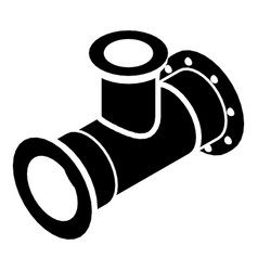 Tee pipe icon simple black style vector