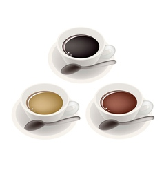 Three kind of coffee in ceramic cup vector