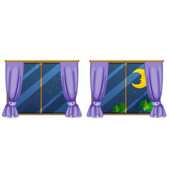 Two window scenes at night vector