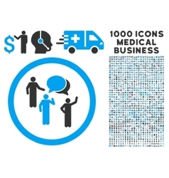 Forum persons rounded icon with medical bonus vector