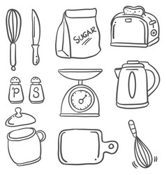 Hand draw kitchen set doodles vector