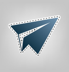 paper airplane sign  blue icon with vector image