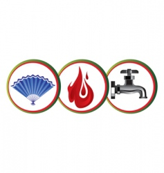 Air fire water icons vector