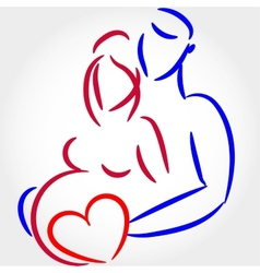 Young family are awaiting for childbirth symbol vector