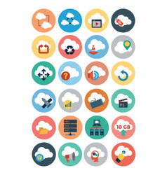 Cloud computing flat icons 3 vector