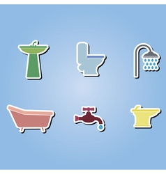 Color icons with bathroom icons vector