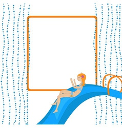 Girl on the waterslide vector