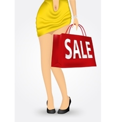 Unrecognizable woman with shopping bag vector