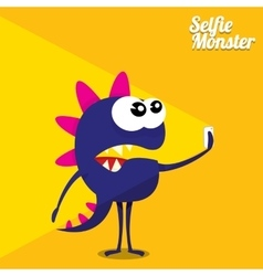 Monster taking selfie photo on smart phone vector