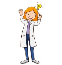 Scientist wearing lab gown vector