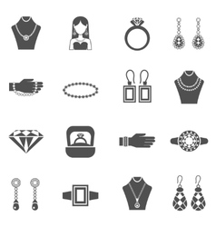 Jewelry black white icons set vector