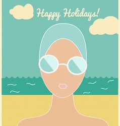 Woman in swimming cap holiday card vector