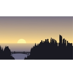 City silhouette on sea vector