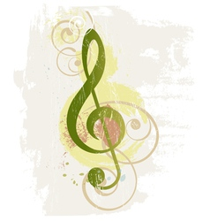 Grunge music background with treble clef vector