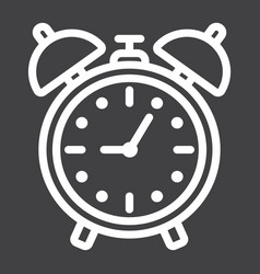 Alarm clock line icon time and deadline vector
