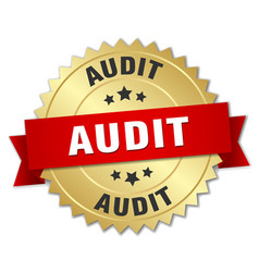 Audit 3d gold badge with red ribbon vector