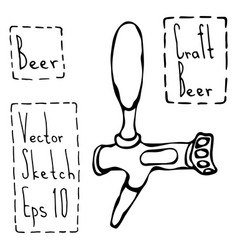 beer tap doodle style sketch vector image
