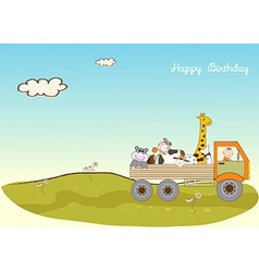 Birthday card with toys vector