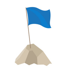 blue flag with long pole on vector image