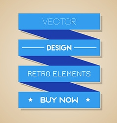blue retro ribbon Flat design vector image vector image