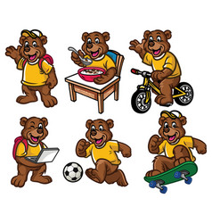 Cartoon character set of cute little bear vector