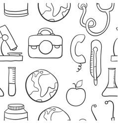 Collection stock of medical object doodles vector