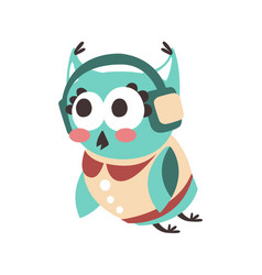 cute cartoon owl bird listening music in vector image