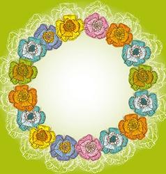 Design of vintage floral card orange blue yellow vector image
