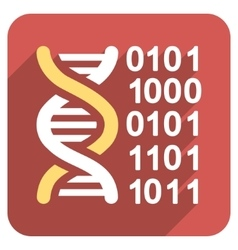 Genome Code Flat Rounded Square Icon with Long vector image vector image