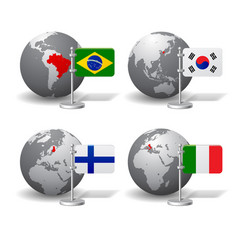 gray earth globes with designation of brazil vector image vector image