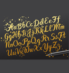 hand drawn brushpen alphabet letters vector image