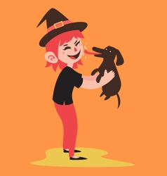 Happy witch holding her pet dog vector