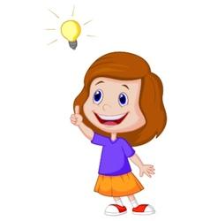 Little girl cartoon with big idea vector