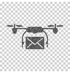 Mail delivery drone grainy texture icon vector