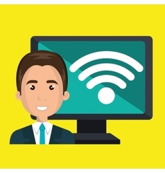 Man pc wifi web vector