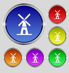 Mill icon sign round symbol on bright colourful vector