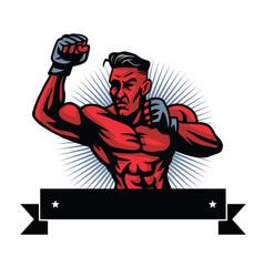 Mma fighter logo design template vector