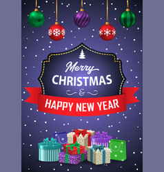 poster merry christmas and happy new year the vector image vector image