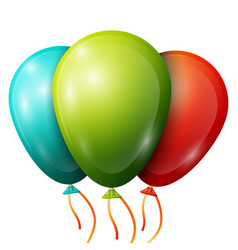 realistic blue green red balloons with ribbons vector image