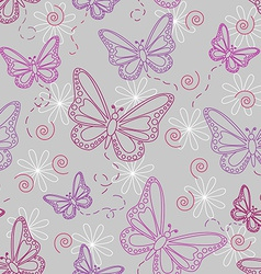 Seamless butterfly pattern in grey vector