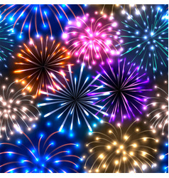 Seamless pattern with colorful fireworks vector