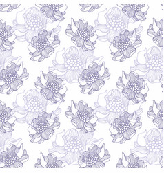 seamless pattern with flowers hand drawing vector image vector image