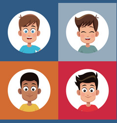 Set boys student character image vector
