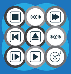 Set of 9 audio icons includes gramophone vector